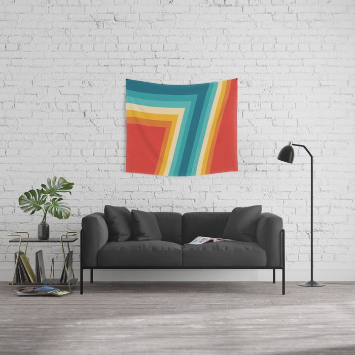 Colorful Retro Stripes  - 70s, 80s Abstract Design Wall Tapestry