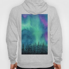 """Wilderness Lights"" Aurora Borealis watercolor landscape painting Hoody"