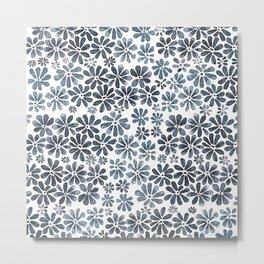 Indigo Flowers Metal Print