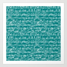Hand Written Sheet Music // Teal Art Print