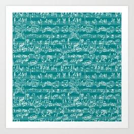 Hand Written Sheet Music // Teal Art Print
