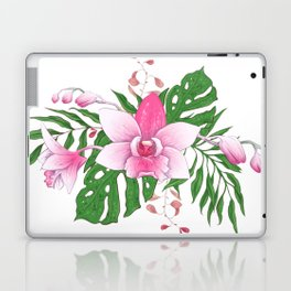 Colorful tropical flowers and leaves bouquet Laptop & iPad Skin