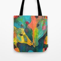 giraffes Tote Bags featuring Giraffes by Silke Powers