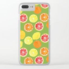 Grapefruit Lemon Orange on Greenery Background Clear iPhone Case