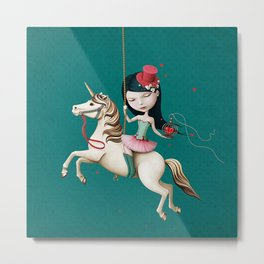 Circus girl on horse with cage and heart Metal Print