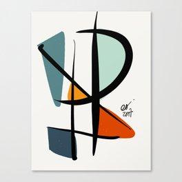 Abstract Minimal Lyrical Expressionism Art Blue Orange Canvas Print