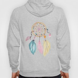 Bright watercolor boho dreamcatcher feathers Hoody