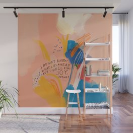 Find Joy. The Abstract Colorful Florals Wall Mural