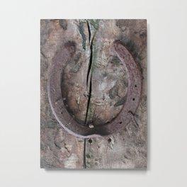 Rusted Horseshoe on Weathered Wood rustic decor Metal Print