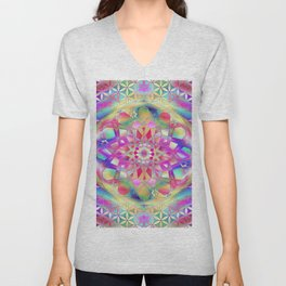 Mandala Pink Flower Unisex V-Neck