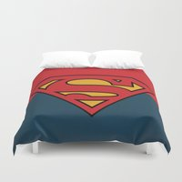 dc comics Duvet Covers featuring Super Man Logo Minimalist Art Print DC Comics by The Retro Inc