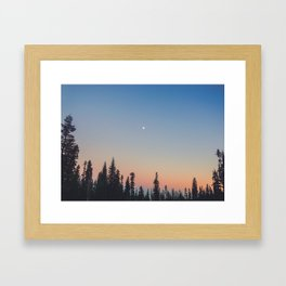 High Moon over Silhouetted Trees at Dusk Framed Art Print