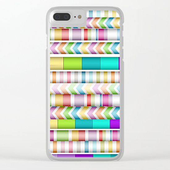 Candy Color Stripes Clear iPhone Case