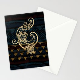 Golden Tribal Honu's Stationery Cards