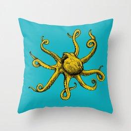 Orange Octopus Throw Pillow