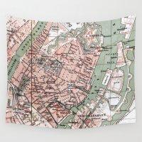 denmark Wall Tapestries featuring Vintage Map of Copenhagen Denmark (1888) by BravuraMedia