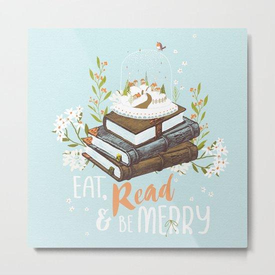 Eat, Read & Be Merry - Globe Metal Print