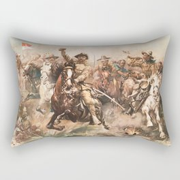 Teddy Roosevelt and The Rough Riders Charging Into Battle Rectangular Pillow