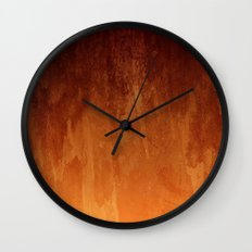 Orange Fire Watercolor Abstract Wall Clock