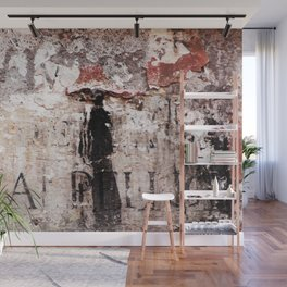 Painted wall with woman in black Wall Mural