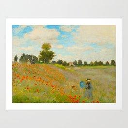 Claude Monet Impressionist Landscape Oil Painting Poppy Field Art Print