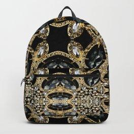 art deco jewelry bohemian champagne gold black rhinestone Backpack