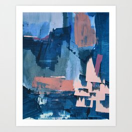 Rhythm of Rain: a modern abstract piece by Alyssa Hamilton Art in blues and pinks Art Print