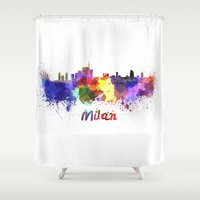milan Shower Curtains featuring Milan skyline in watercolor by Paulrommer