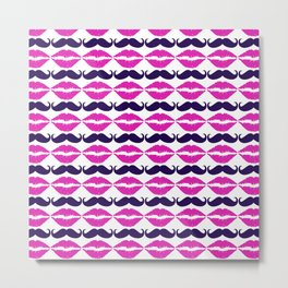 Mustache and Lips Pink Metal Print