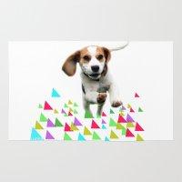 beagle Area & Throw Rugs featuring Happy Beagle by MinnaEleonoora