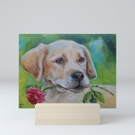 Labrador Dog with rose flower Cute puppy portrait Pet painting Valentine's Day gift for Dog Lover Mini Art Print