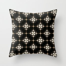 White and Black Floral Pattern Throw Pillow