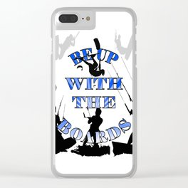 Be Up With The Boards Text And Kitesurfer Vector Clear iPhone Case