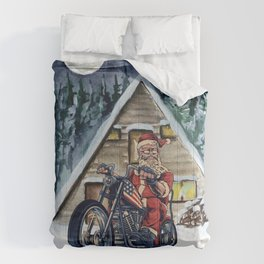 Mr Biker Santa,Taking an Evening Winter Wonderland Ride Comforters