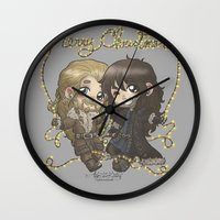 fili Wall Clocks featuring Christmas Fili and Kili by ScottyTheCat