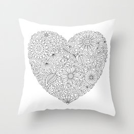 Flowers Heart Coloring Page, Flourish and Bloom Throw Pillow