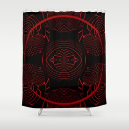 Black, red, and pattern ... Shower Curtain