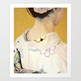 la fille au kimono - oil on canvas Art Print