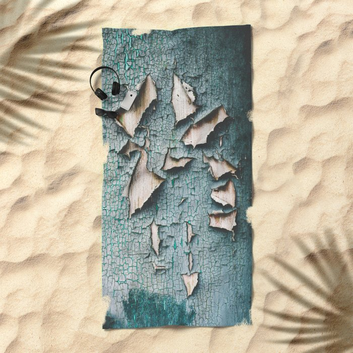 Rustic old light blue green peeling paint Beach Towel