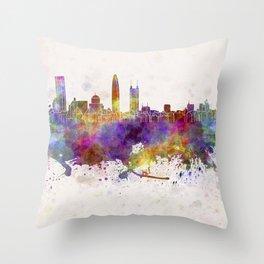 Shenzhen skyline in watercolor background Throw Pillow