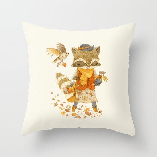Rebecca the Radish Raccoon Throw Pillow
