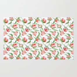 Hand painted white red green watercolor floral Rug
