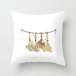 Herbs in Pastel Colors . Throw Pillow