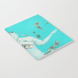 Easy Money and Cash with Happy Businessman Notebook