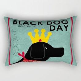 Black Dog Day Royal Crown Rectangular Pillow
