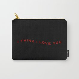 Modern Wavy Typographic I Think I Love You Carry-All Pouch
