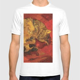Tabby Cat Sleeping Animal Oil Painting in Vibrant Red Brown Yellow Impressionist Bright Colour T-shirt