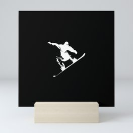 Snowboarding White Abstract Snow Boarder On Black Mini Art Print