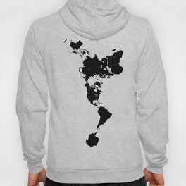 Dymaxion World Map (Fuller Projection Map) - Minimalist Black on White Hoody