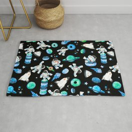 Planet Donuts Watercolor Astronaut Pattern Blue Rug